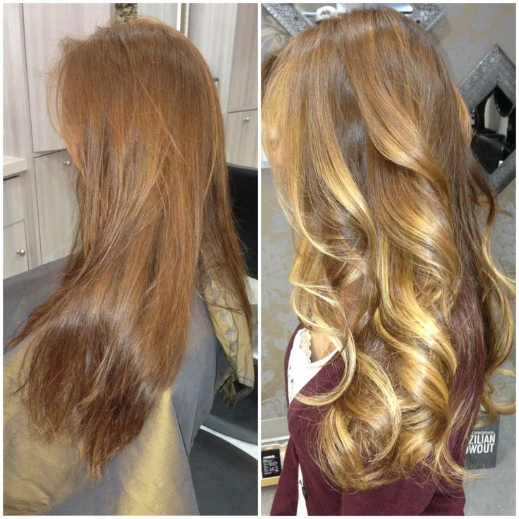 Light auburn base with different shades of lighter tone ...
