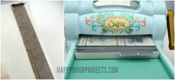 How to emboss leather with a Sizzix Big Shot. Embossed and Stamped Leather Bracelet at www.happyhourprojects.com