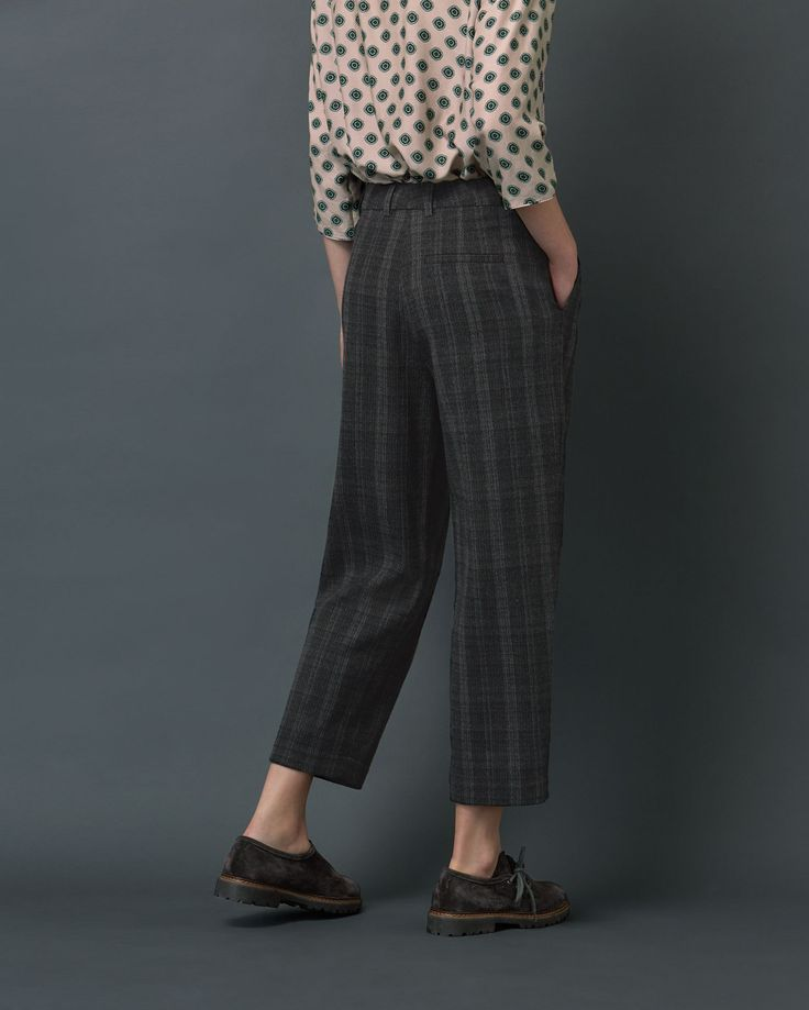 SOFT WOOL PLAID TROUSER | Cropped, tapered, pleat front trousers in a muted wool blend plaid.