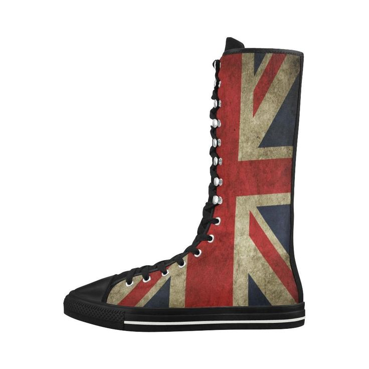 GB Flag Canvas Long Boots For Women Model