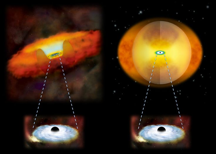This illustration compares growing supermassive black holes in two different kinds of galaxies