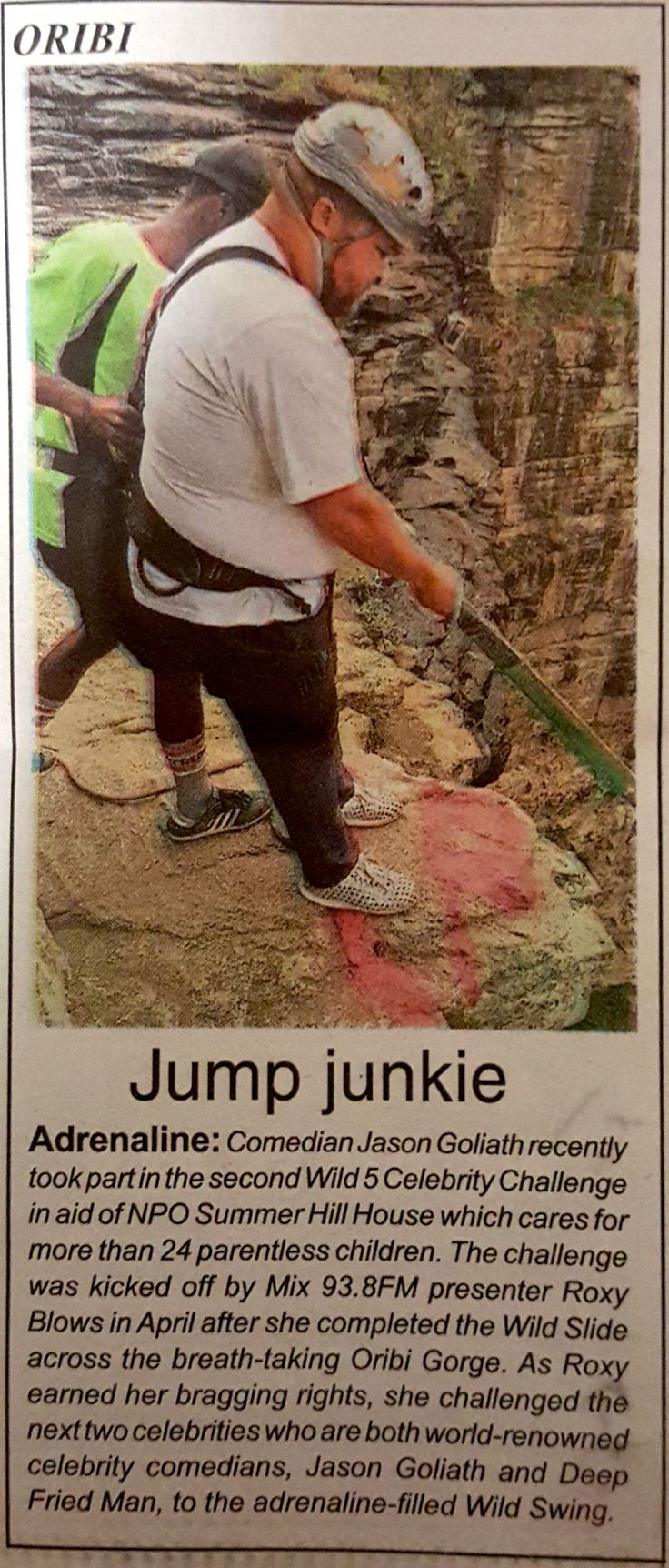 Wild 5 Adventures, Oribi Gorge would like to thank the South Coast Herald for the awesome feature on the #Wild5CelebChallenge that Jason Goliath took part in, all in aid of Summer Hill House