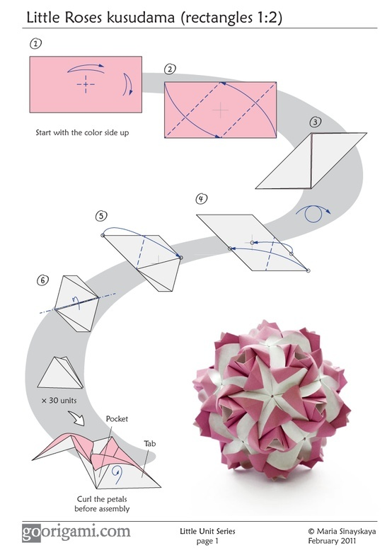 141 best origami images on pinterest paper flowers money origami little roses kusudama diagram mightylinksfo Image collections