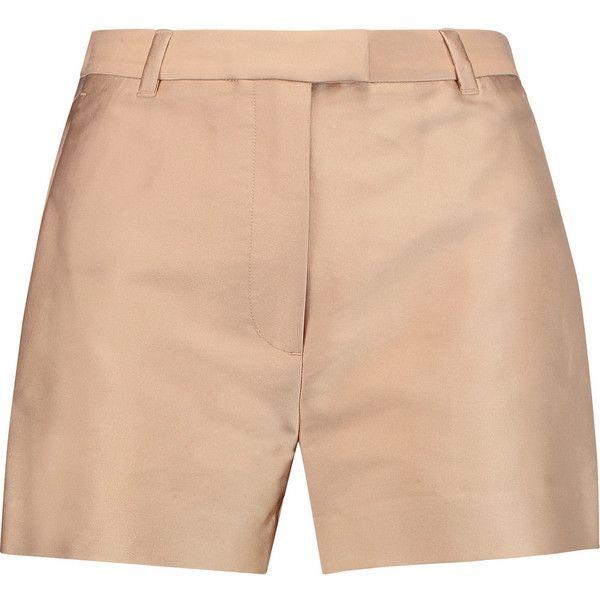 3.1 Phillip Lim - Satin Shorts ($147) ❤ liked on Polyvore featuring shorts, neutral, zipper shorts, 3.1 phillip lim shorts, 3.1 phillip lim, satin shorts and beige shorts