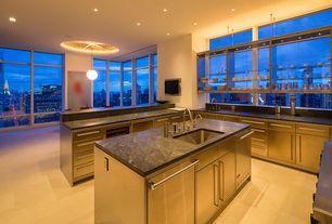 Contemporary Kitchen with Virginia Black Granite, Kitchen island, Limestone, Pendant Light, U-shaped, Limestone counters