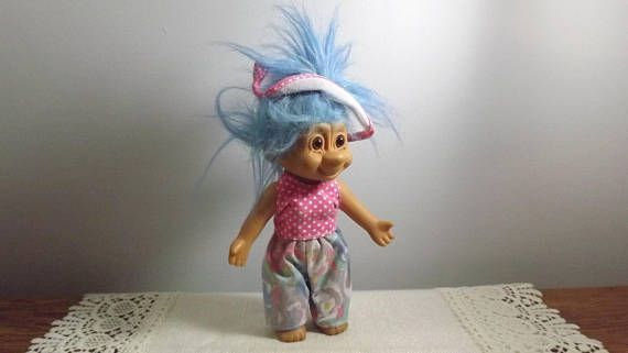 Vintage Troll Doll with Brown Eyes and Fancy Blue Hair