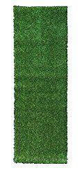 Ottomanson Evergreen Collection Indoor/Outdoor Green Artificial Grass Turf Solid Design Runner Rug, 2'7″ x 8′