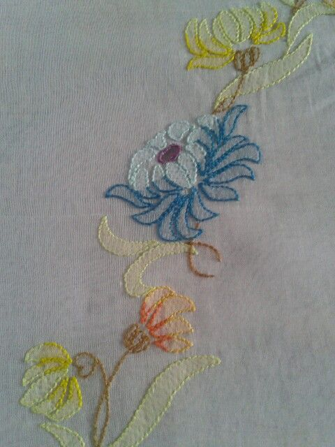 W   ........ I used my favorite Anchor Embroidery Floss - it is durable, fast, with a slight shine/gloss.