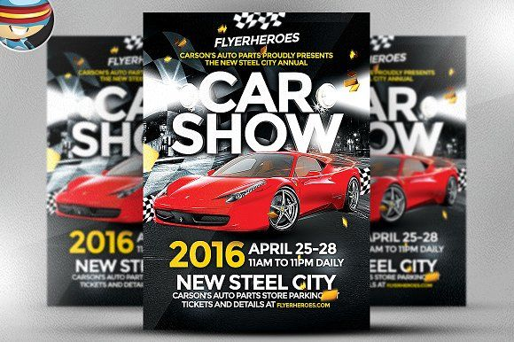 Car Show Flyer Template by FlyerHeroes on @creativemarket