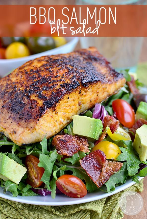 Gluten-free BBQ Salmon BLT Salad has a homemade smoky-sweet salmon rub and is ready in 30 minutes! #glutenfree | iowagirleats.com