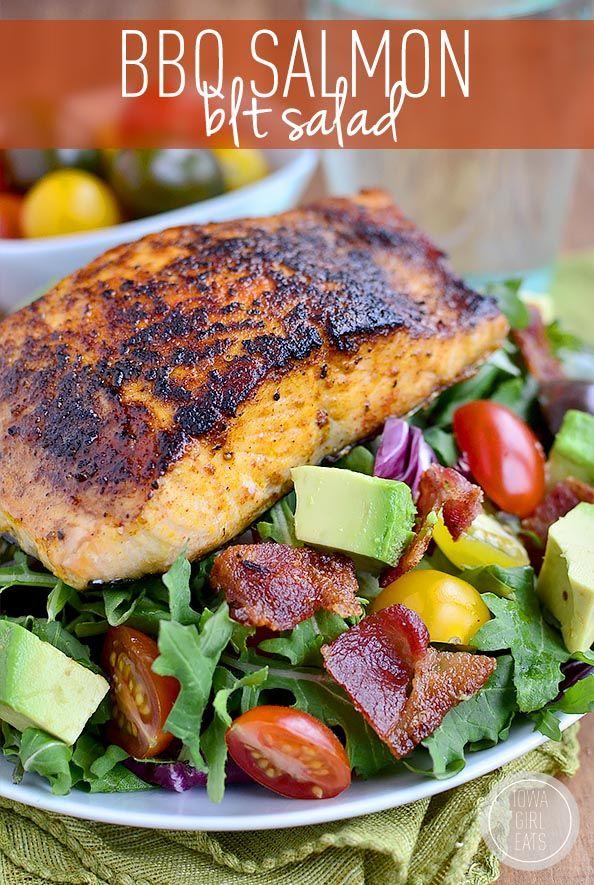 Gluten-free BBQ Salmon BLT Salad has a homemade smoky-sweet salmon rub and is ready in 30 minutes! #glutenfree | iowagirleats.com