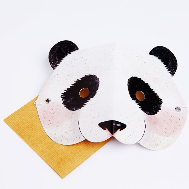 A smiley and fluffy panda bear with pink cheeks  Write your message on the back of the mask in the space provided. Then the person who receives it can wear it!