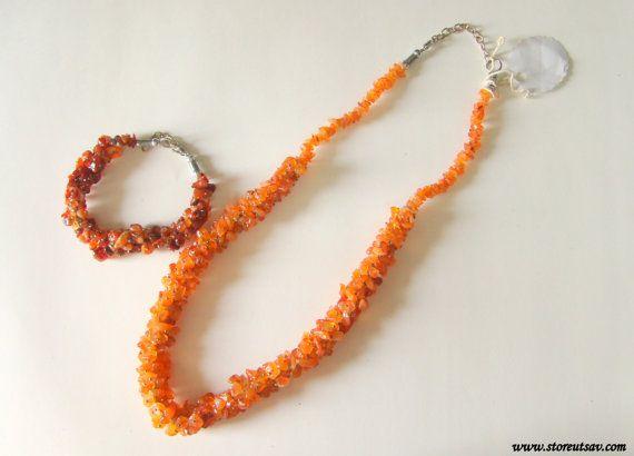 Necklace & Bracelet Set Carnelian Chips Natural Authentic 100%