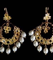 ETHENIC POLKI N REAL WHITE PEARLS HANGINGS IN CHAND BALI STYLE shop online