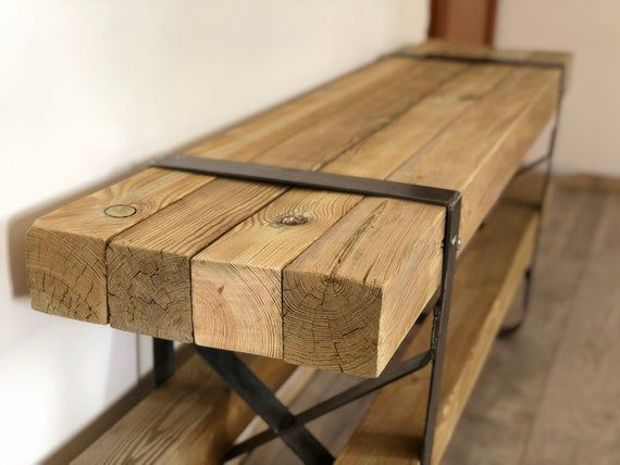 Meuble Tv Fer Et Bois Massif Etsy In 2020 Furniture Apartment Interior Design Wooden Doors