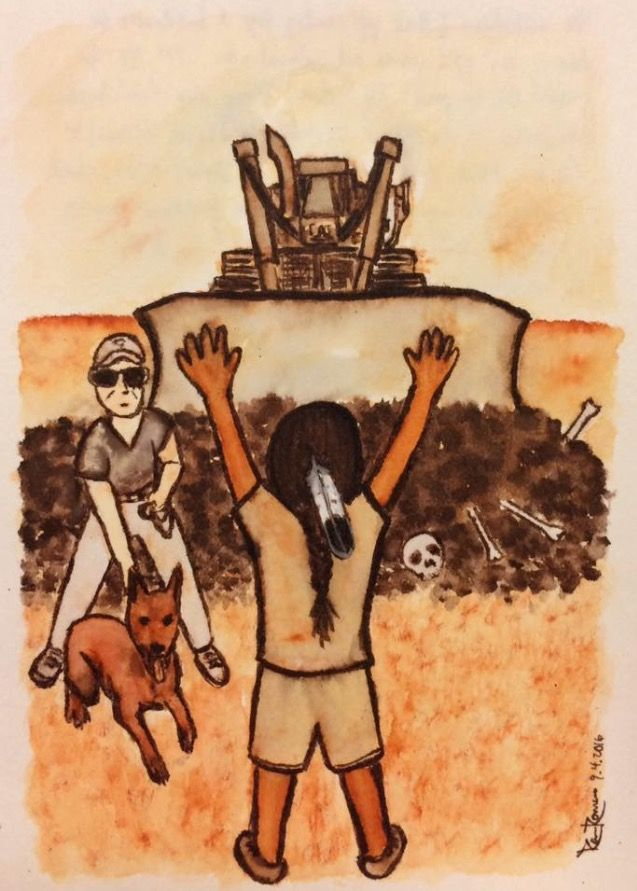 """""""Standing Rock"""" For the children For the elders For the ancestors For the people For the water For the land For Mother Earth For all life For all is sacred All is holy All is precious Stand and do not be moved! #NoDAPL #MniWiconi Ramone Ramari"""