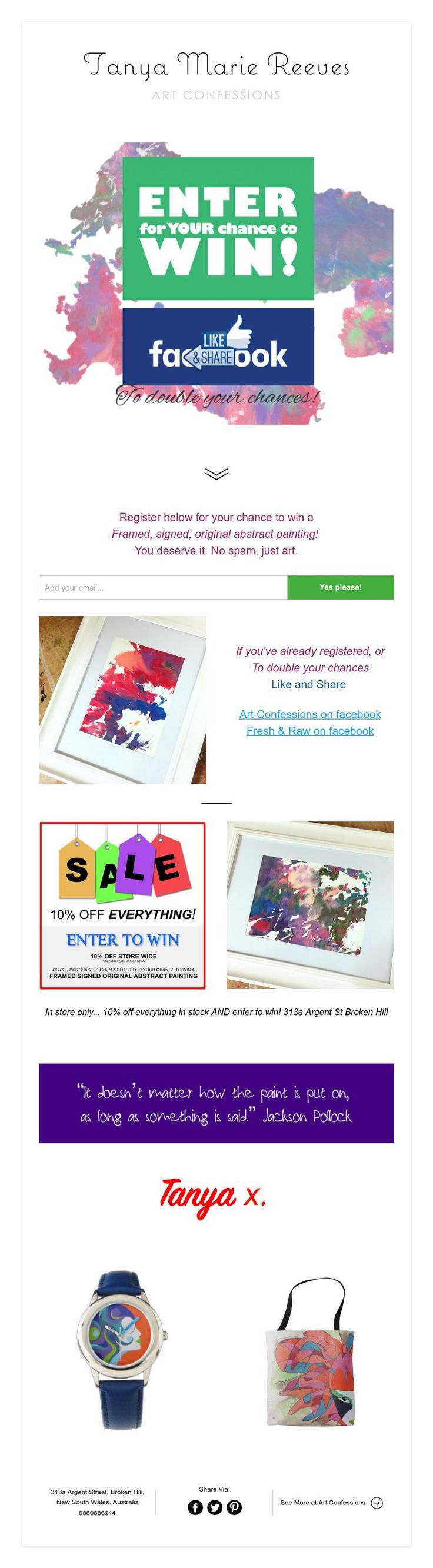 Enter to win a framed, signed, original abstract painting by Tanya Marie Reeves