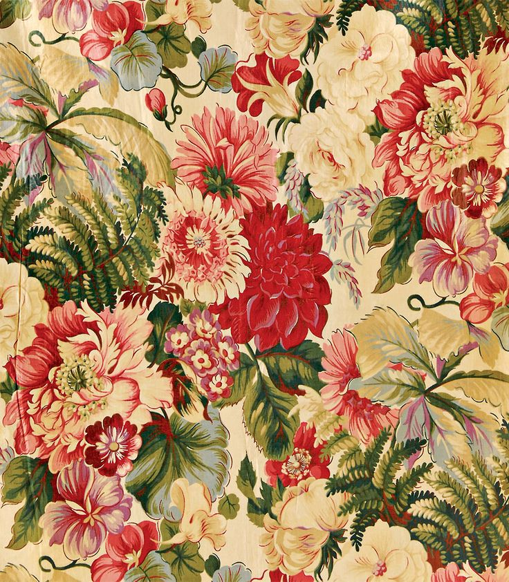 """Chintz:bold painted,vibrantly stained muslin.Features rich,exotic patterns of flowers & wildlife.Originally from China/India,""""chintz"""" is derived from Hindi word """"chint,""""- gaudily printed fabric.Used for bed coverings & draperies.Imported in 1600s,by British Raj & European explorers.Within 60 years,imported chintz was so popular demand threatened French & English textile industries and was banned.Ban spurred innovations in textile industry. English glazed chintzes considered finest in the…"""