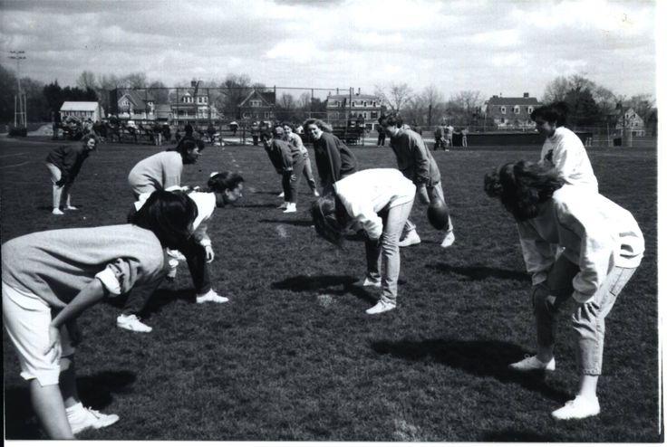 A little football? Brown University Kappa Alpha Theta members in 1988!