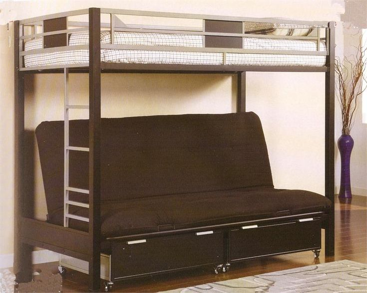 silver black metal twin futon bunk bed