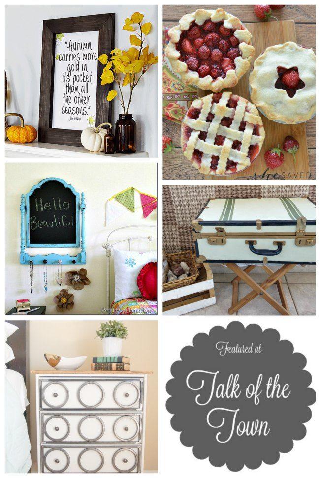 autumn sign, fresh mini strawberry pies, repurposed chalkboard mirror, upcycled…