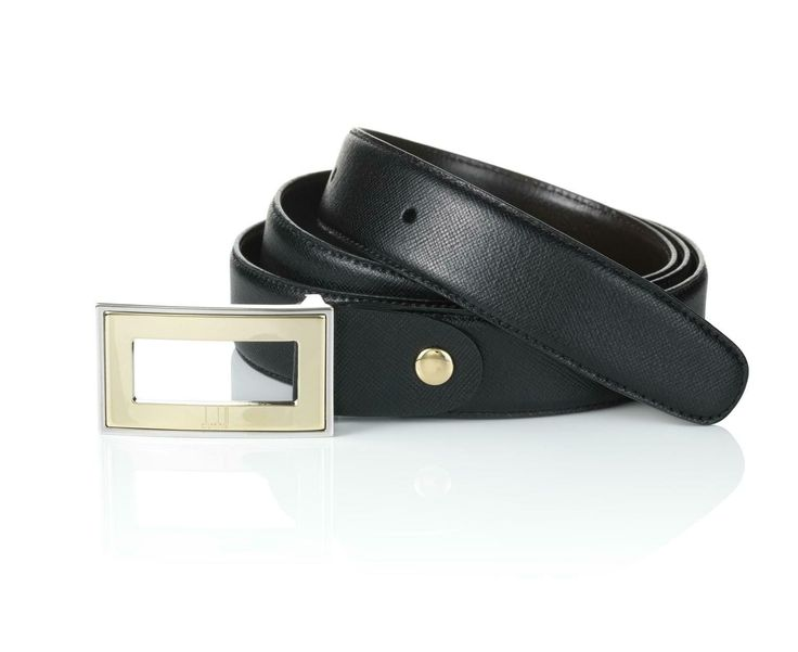 Gold Insert Frame Belt by Dunhill. The finishing touch on any ensemble, our newly expanded selection of Dunhill belts are made to last from top quality materials with a touch of classic, elegant British style. Click on image for more details. #Giftideas #FathersDay #YVR #Vancity #Vancouver #Dunhill #Belts #fashion #gentleman #men #menswear #accessories #black #leather #classy #gold