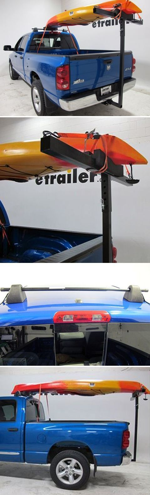 """Carry your canoe or kayak safely and securely on your pickup truck. This setup includes a rooftop crossbar, foam kayak block and hitch-mounted extension piece to create a full system. All you need is a 2"""" trailer hitch receiver and your boat."""