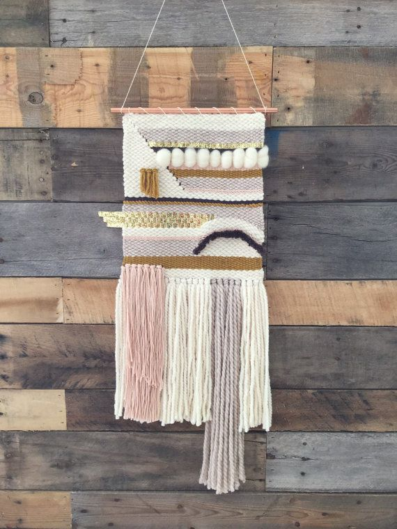 Handmade woven wall art/ woven wall hanging in Ivory, blush, mustard, mushroom, smoke, and with gold glitter ribbon detail. This item was handwoven
