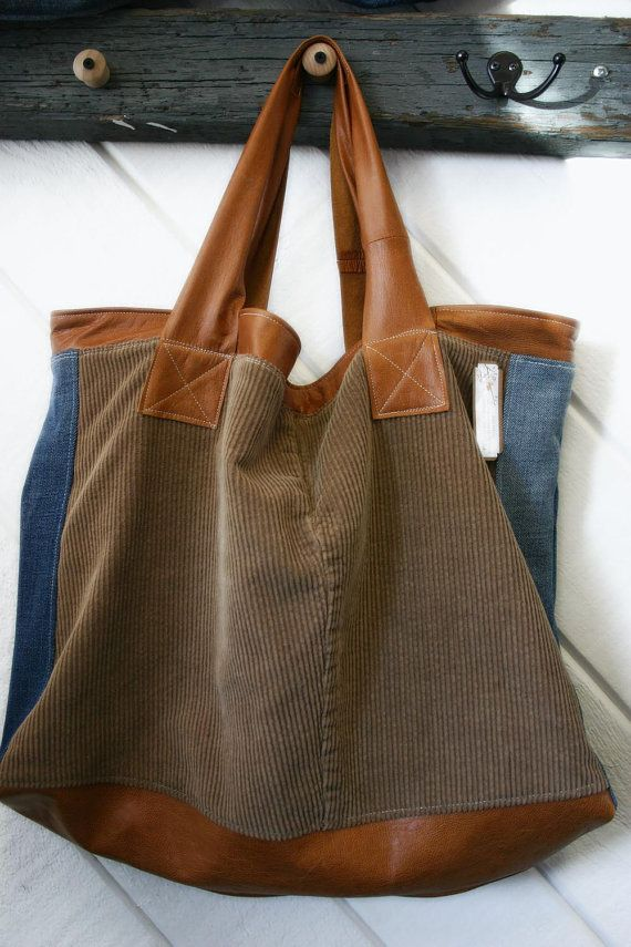 Large tote leather denim and cord bag Leather Hobo by terryharmon