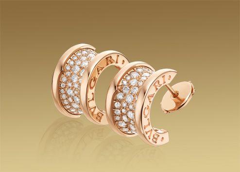 B.zero1 earrings in 18 kt pink gold with pavé diamonds