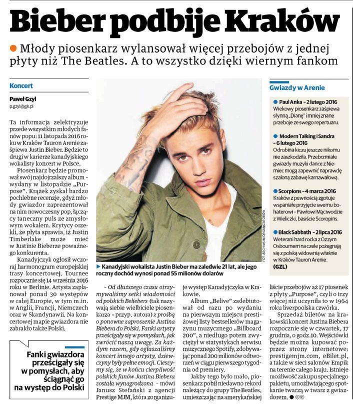 #PolskaTheTimes: Młody piosenkarz wylansował więcej przebojów z jednej płyty niż The Beatles. A to wszystko dzięki wiernym fankom. #JustinBieber #Beliebers #Kraków