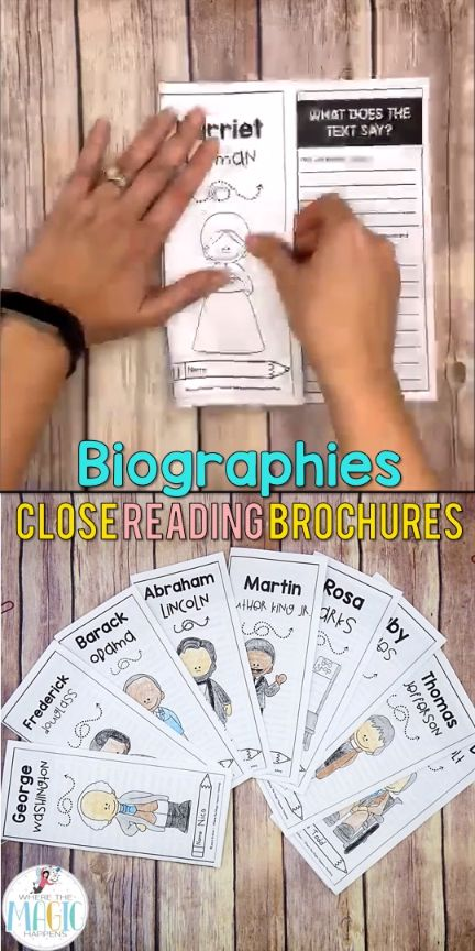 """This Biographies close reading resource contains 10 relevant close reading passages, and it also provides a """"how-to"""" quick guide and implementation strategies for the primary and elementary grades. The close reading passages that you will find in this resource are: Rosa Parks, George Washington, Frederick Douglass, Ruby Bridges, Martin Luther King Jr., Abraham Lincoln, Barack Obama, Thomas Jefferson, Harriet Tubman, Franklin D. Roosevelt."""
