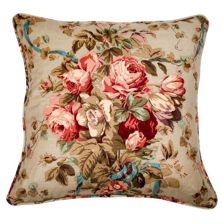 Tulips, Roses & Ribbons Cushion Cover This 55x55cm cushion cover is made from unused French vintage 100% linen. This is a sumptuous print of tulips, roses, foxgloves, foliage and winding turquoise ribbons on a pale greygreen background. The cover is piped in the print and backed with linen. It has a concealed zip closure on one side.  Nest, Stellenbosch