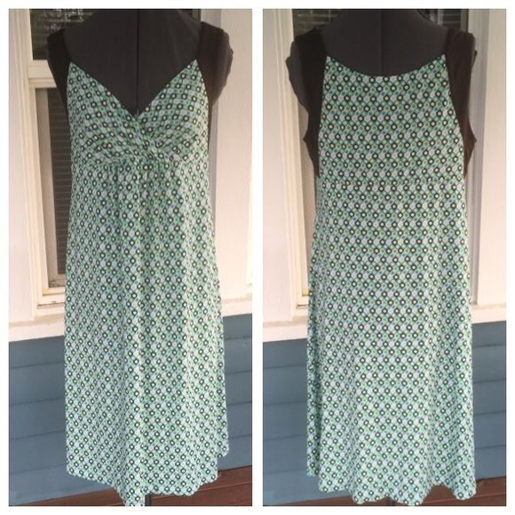 """MOTHERHOOD Turquoise & Brown Maternity Dress MOTHERHOOD Maternity Dress. V v-neck.  Sleeveless.  Length 40"""".  Turquoise & brown Geometric patterned polyester/spandex blend material.   Excellent condition. Motherhood Maternity Dresses"""