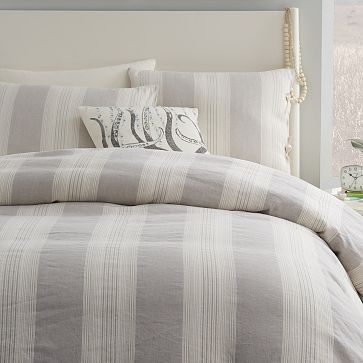 Coastal Stripe Duvet Cover + Shams  - Frost Gray #westelm