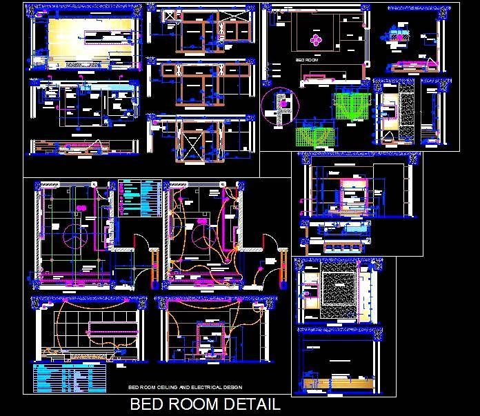 Master bedroom designed on a modern theme with designer Bed Wall Panelling, Cove/Hidden lighting effects etc., shows complete Interior Design detail- Layout Plan, Bed Detail, Bed Wall Panelling Detail, Ceiling Design, Lighting Layout, Electrical layout, Electrical Conduit layout, LCD Unit Design Detail, All detailed wall elevation, Material Specification and required blow up details.