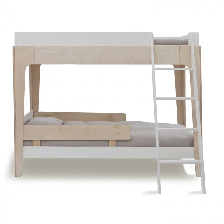 Furniture, Elegant Minimalist High Beds: Contemporary White Natural  Unfinished Pine High Bunk Beds With