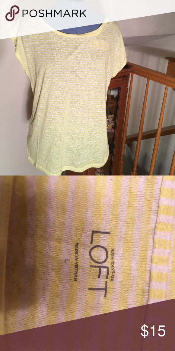 "Anne Taylor Loft yellow/white t-shirt. Large Ann Taylor Loft yellow and white t-shirt in ""burnout"" look , light weight, short/cap sleeve. LOFT Tops Tees - Short Sleeve"
