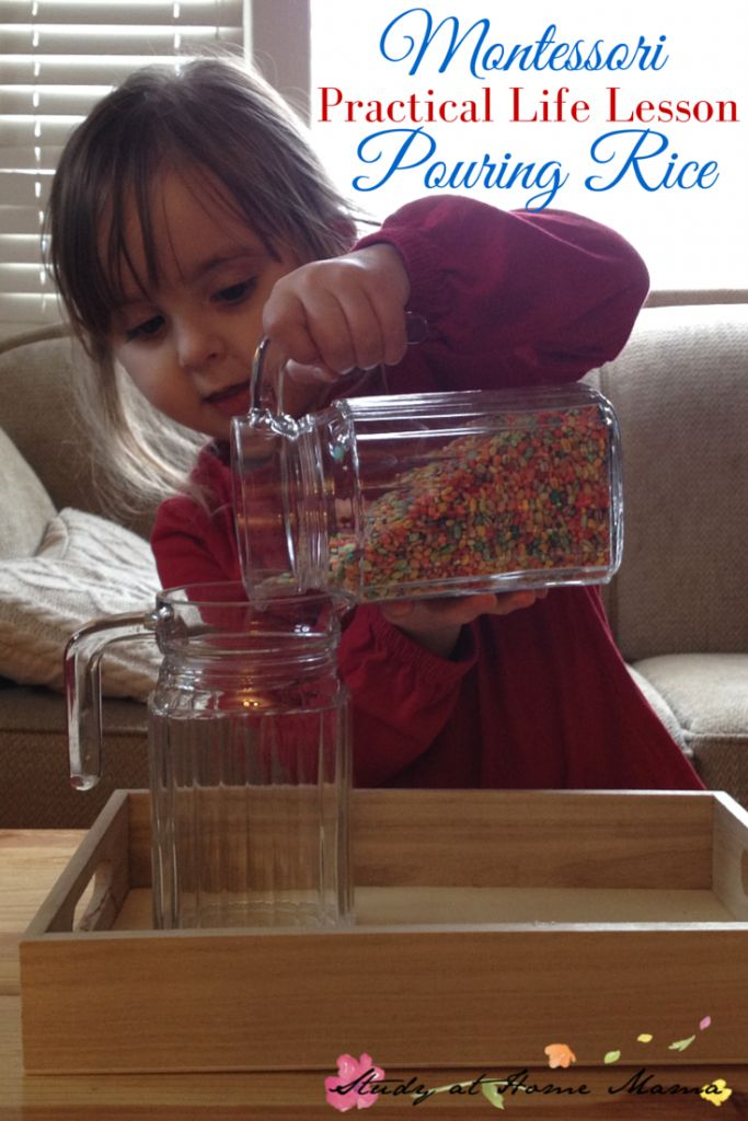 Montessori Practical Life Lesson: Pouring Rice - an easy practical life activity for preschoolers that encourages them to pay attention to what they are doing and clean up their work areas. (And yes, that's rainbow-coloured barley to add some visual interest.)