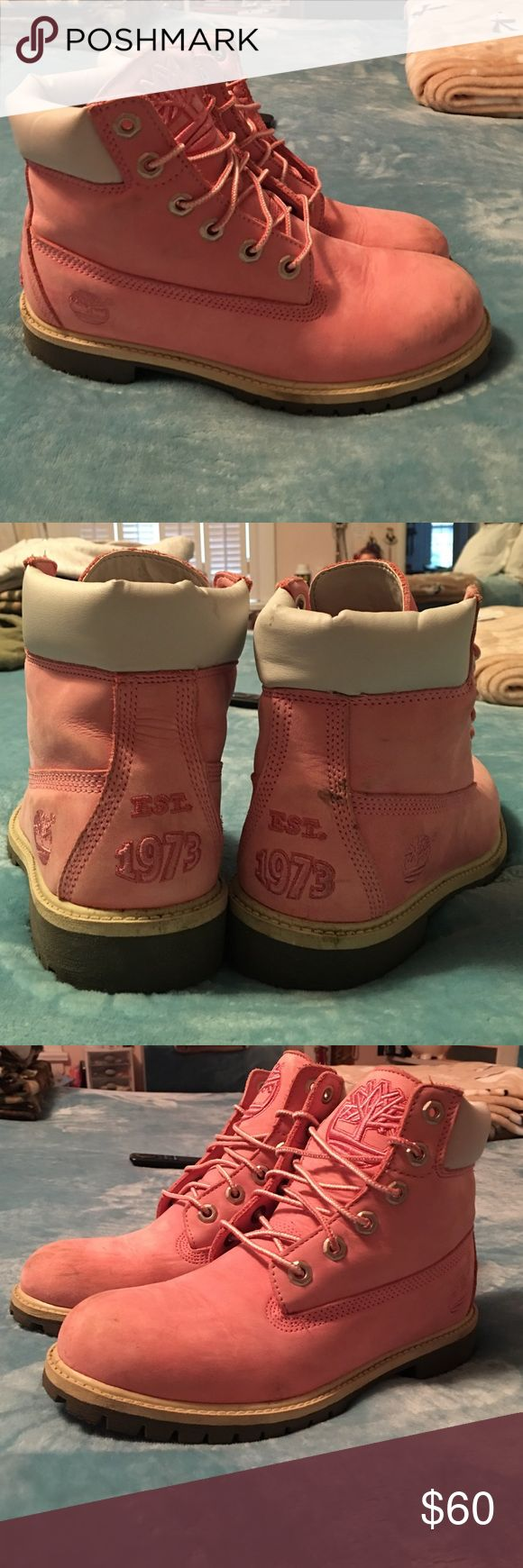 Pink Timberland Boots Lightly worn pink Timberland boots. Price is negotiable. Timberland Shoes Winter & Rain Boots