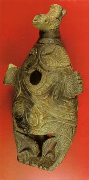 Sea animal? Japanese ceramic figurine. Jomon-era. Hokkaido Japan. BC.1,200 - BC.800.