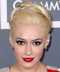 Kaya Jones Long Straight Formal Updo Hairstyle – Light Blonde Hair Color