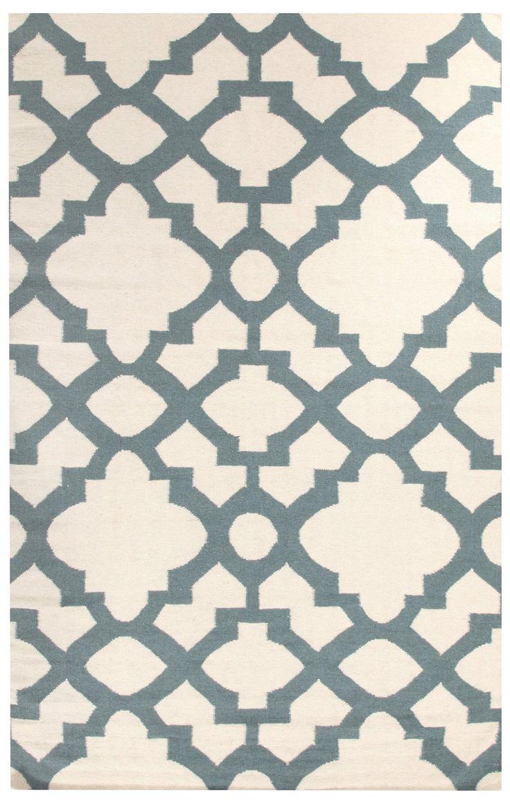 Flat Weave Trellis Design Light Blue White Rug