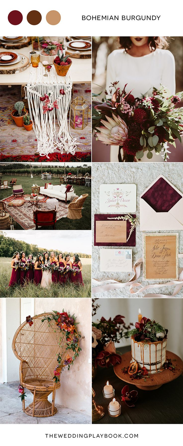 This burgundy and gold/neutral color palette is the perfect choice for a late summer or autumn wedding! Dark, soft, romantic, and dreamy.