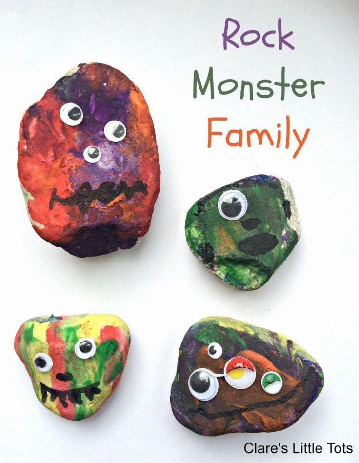 Rock Monster Family. Fun painting idea for toddlers and preschoolers. Let them paint rocks and add googly eyes for a fun monster craft idea.