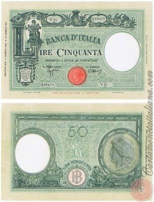 Cartamoneta Italiana .com - Museo Virtuale - : Banca d'Italia – Regno d'Italia - Foto: 50 LIRE - Barbetti - modificato - senza matrice (B.I.) - N 6
