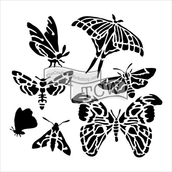 Crafters Workshop Mini 6x6 Template Graceful Moths