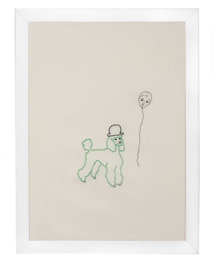Green poodle - french knots.  Stitched by Tine Wessel. Have a look at www.facebook.com/theneedlehasapoint