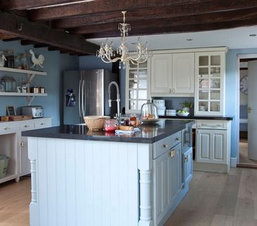 Eclectic style-Chandelier in light blue kitchen