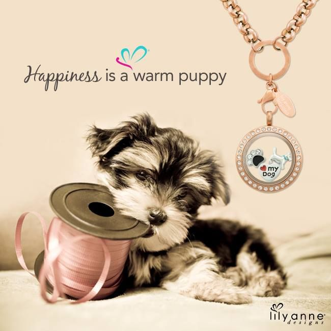 {Happiness is a warm puppy} Thumbs up if you love puppies! #LilyAnneDesigns #PersonalisedLockets #CapturingMoments #FreeToBeMe